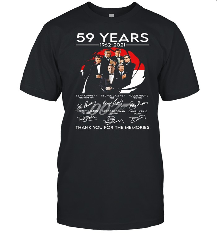 007 59 years 1962 2021 thank you for the memories signatures shirt Classic Men's T-shirt