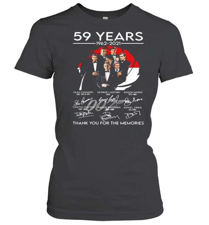 007 59 years 1962 2021 thank you for the memories signatures shirt Classic Women's T-shirt