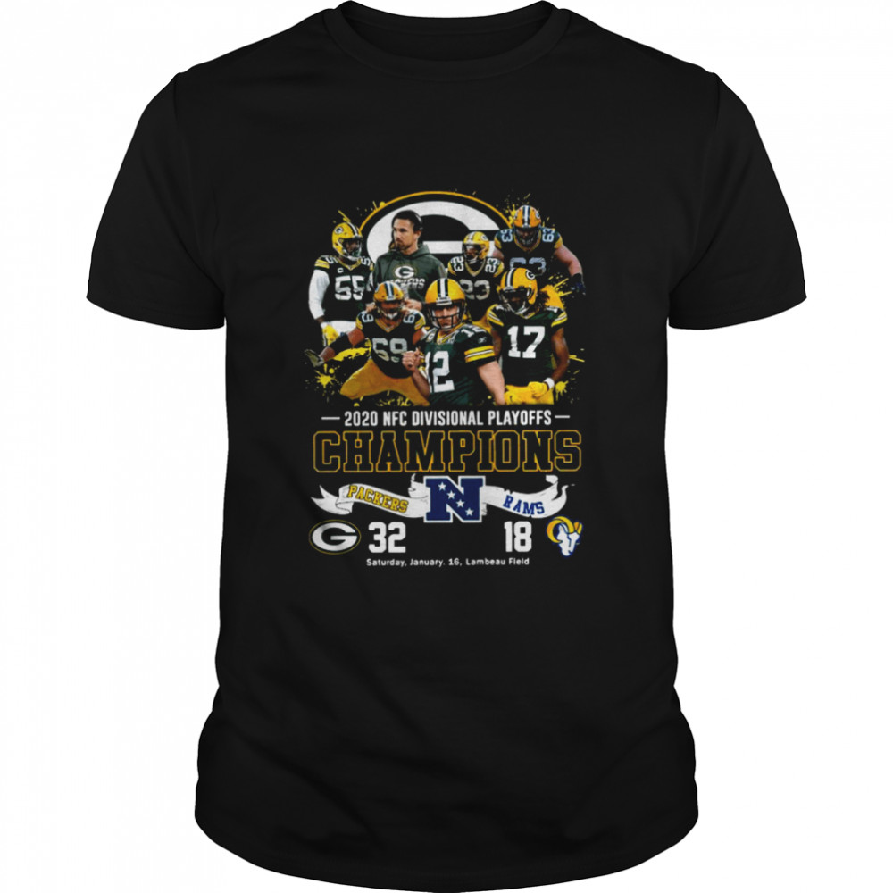 2021 Divisional Playoffs Champions Packers 32 18 Rams shirt Classic Men's
