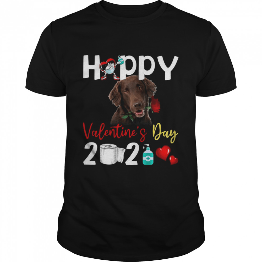 Flat Coated Retriever Happy Valentines Day With Toilet Paper 2021 shirt Classic Men's