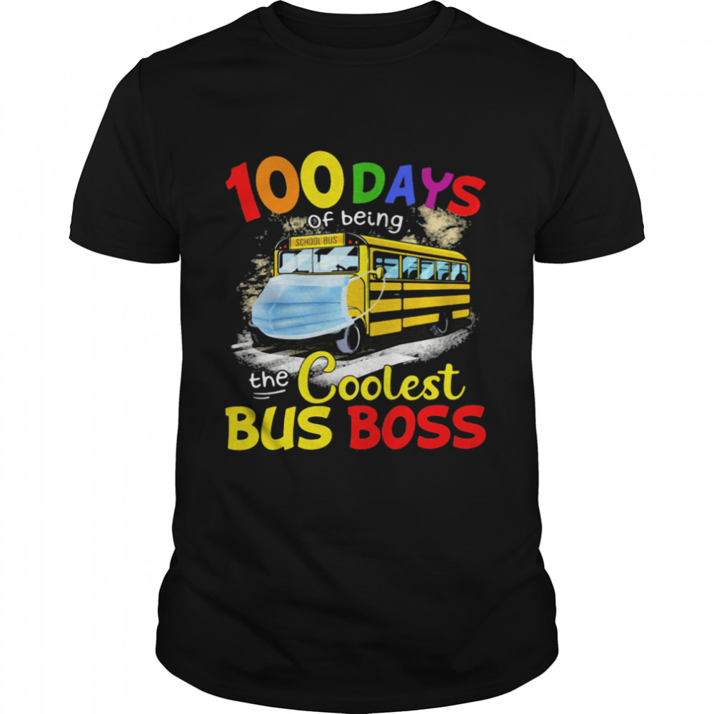 100 Days Of Being The Coolest Bus Boss Yellow Bus shirt Classic Men's
