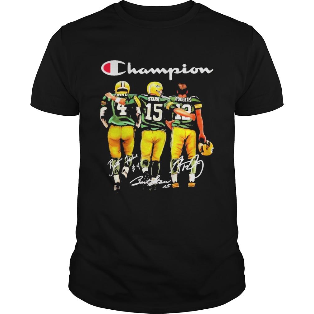 Brett favre bart starr aaron rodgers champion signatures shirt Classic Men's