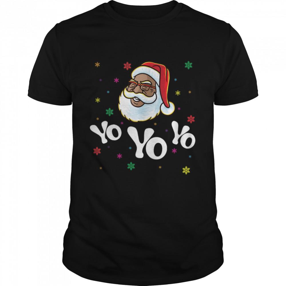 Yo Yo Yo Santa Claus Afro American Africa Black Hip Hop Rap shirt Classic Men's