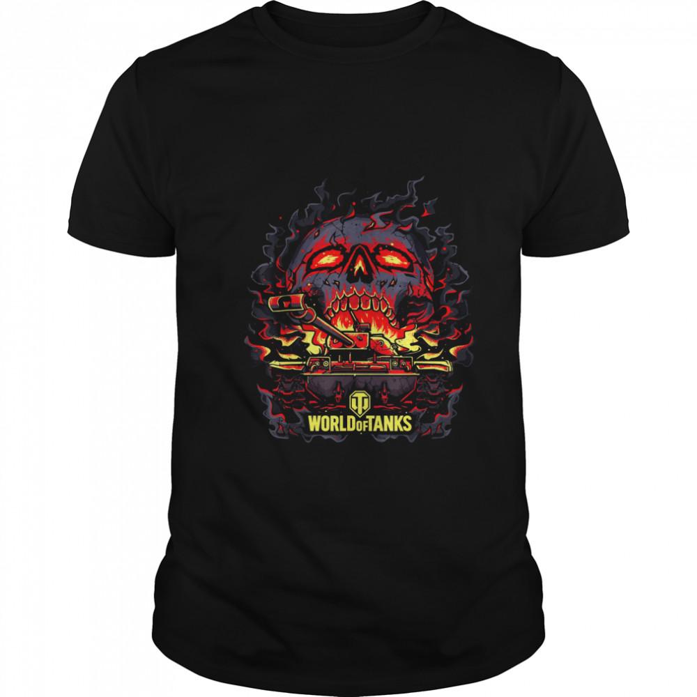 World Of Tanks Halloween Light Fire Skull shirt Classic Men's