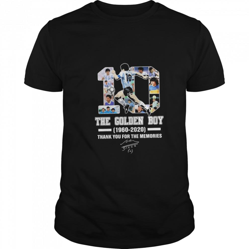 10 Diego Maradona The golden Boy 1960 2020 thank you for the memories signature shirt Classic Men's