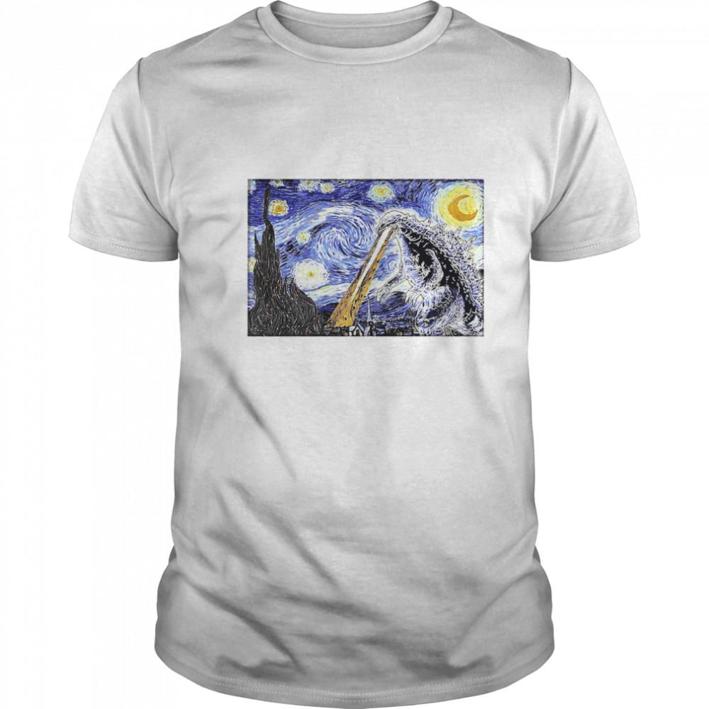 Godzilla Starry Night shirt Classic Men's