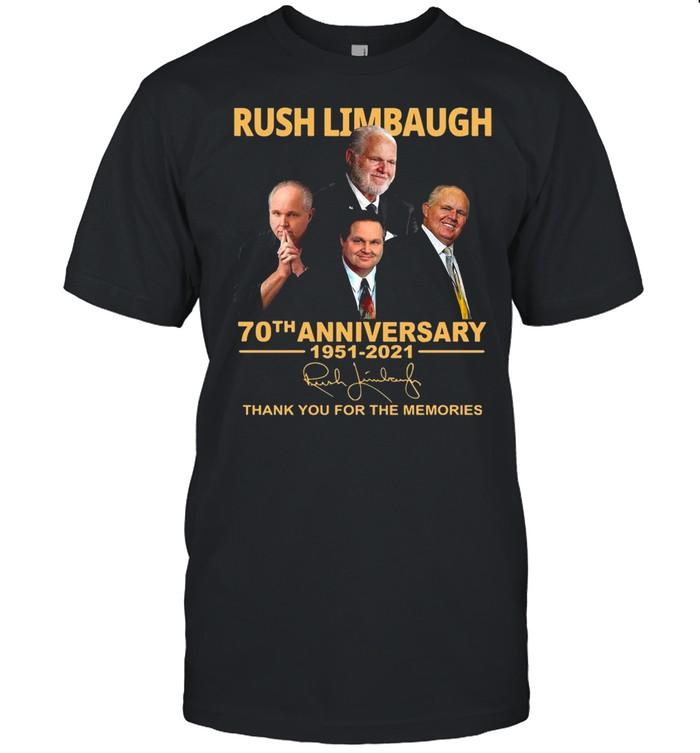 Rush Limbaugh 70th Anniversary 1951 2021 Signature Thank You For The Memories shirt Classic Men's T-shirt
