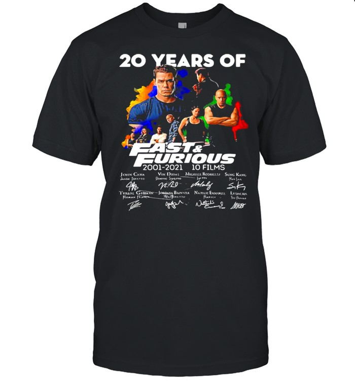 20 Years Of Fast And Furious 2001 2021 10 Films Signatures  Classic Men's T-shirt