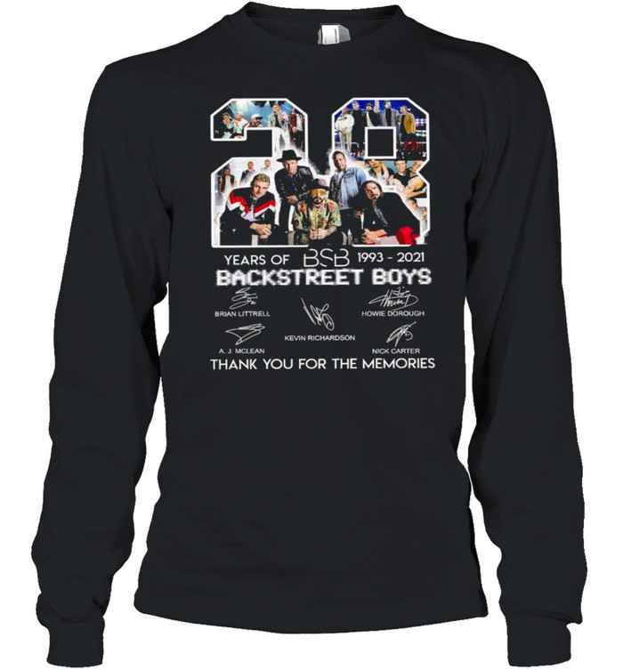28 Years Of BSB 1993 2021 Backstreet Boys Thank You For The Memories  Long Sleeved T-shirt