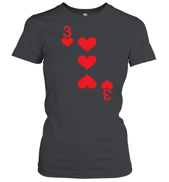 3 of Hearts Playing Card Halloween Costume shirt Classic Women's T-shirt