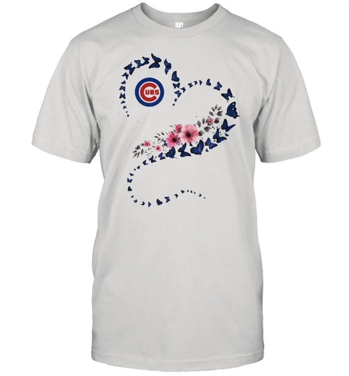 Chicago Cubs Era Heart Butterflies Blue Flowers  Classic Men's T-shirt