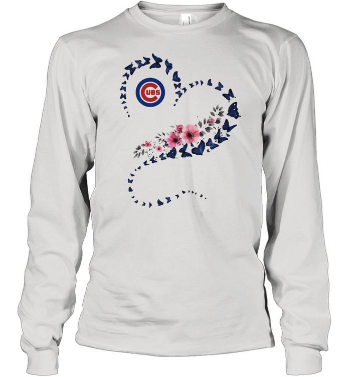 Chicago Cubs Era Heart Butterflies Blue Flowers  Long Sleeved T-shirt