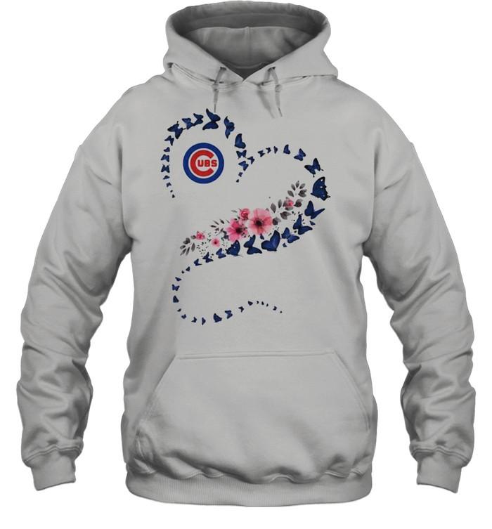 Chicago Cubs Era Heart Butterflies Blue Flowers  Unisex Hoodie