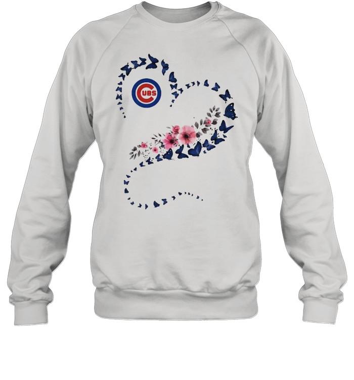 Chicago Cubs Era Heart Butterflies Blue Flowers  Unisex Sweatshirt