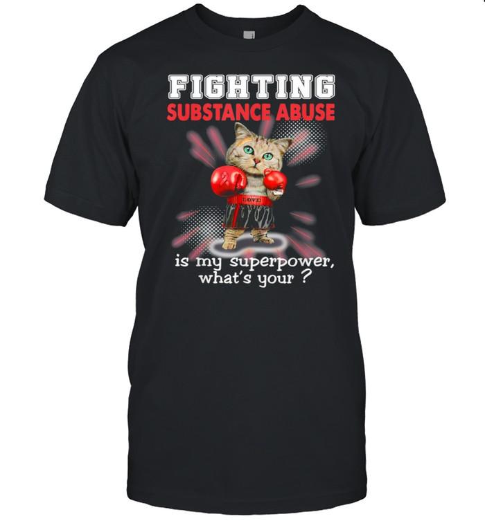Fighting Cat Substance Abuse Awareness shirt Classic Men's T-shirt