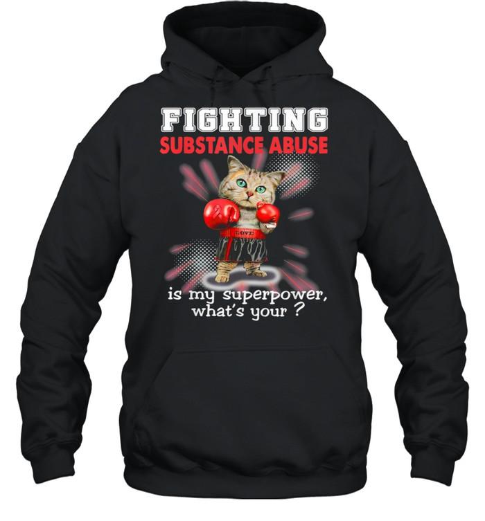Fighting Cat Substance Abuse Awareness shirt Unisex Hoodie