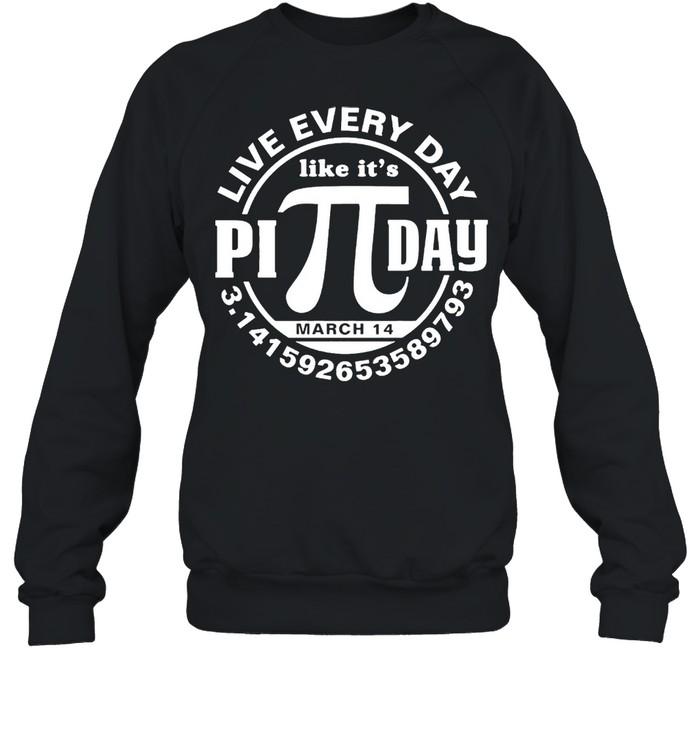 Live every day like its Pi day shirt Unisex Sweatshirt