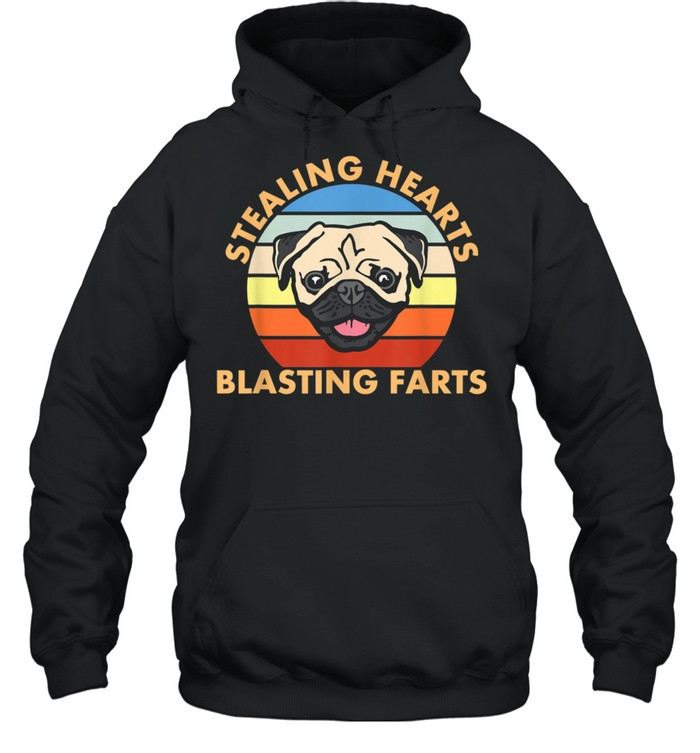Stealing Hearts and Blasting Farts Dog Pug shirt Unisex Hoodie