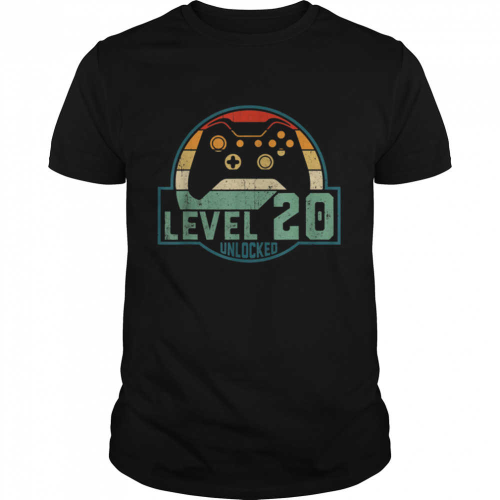 Level 20 Unlocked Video Game 20th Birthday 20 Years Old shirt Classic Men's T-shirt