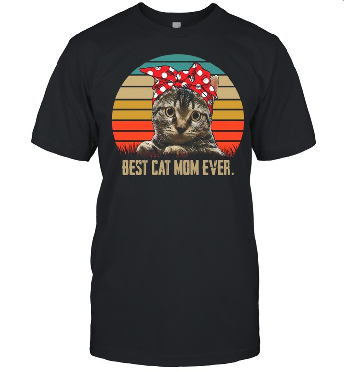 Retro Sunset With Best Cat Mom Ever shirt Classic Men's T-shirt