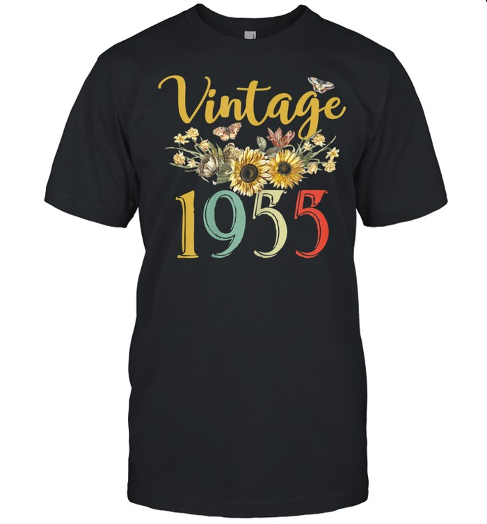 Vintage 1955 Sunflower 66th Birthday Awesome Since 1955 shirt Classic Men's T-shirt