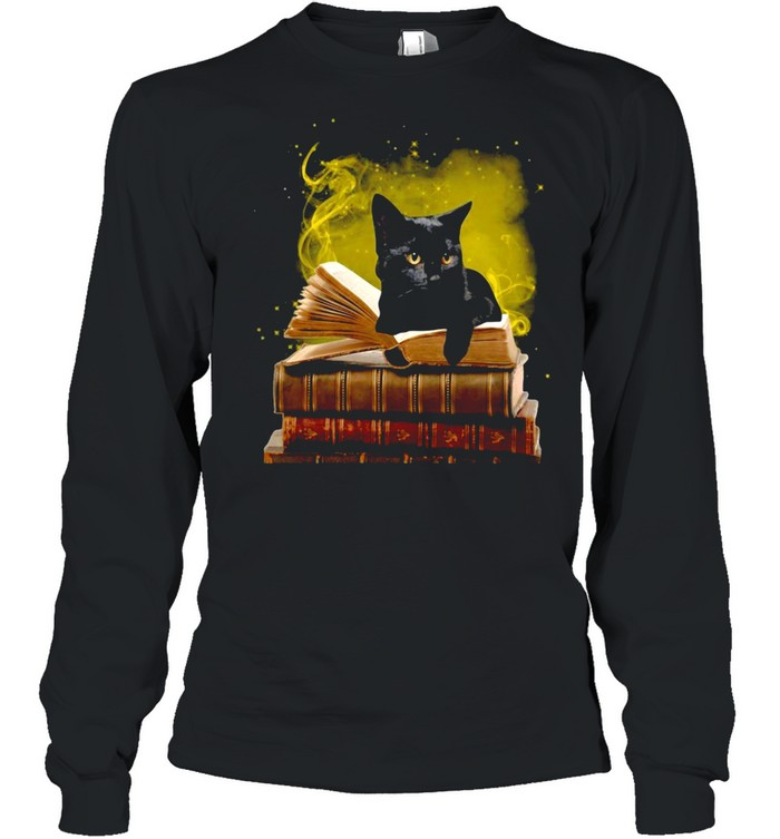 Black Cat With A Law Book T-shirt Long Sleeved T-shirt