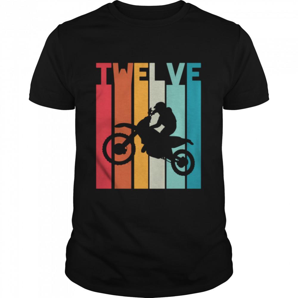 12th Birthday Retro Motocross 12 Years Boys Girl Dirt Bike shirt Classic Men's T-shirt