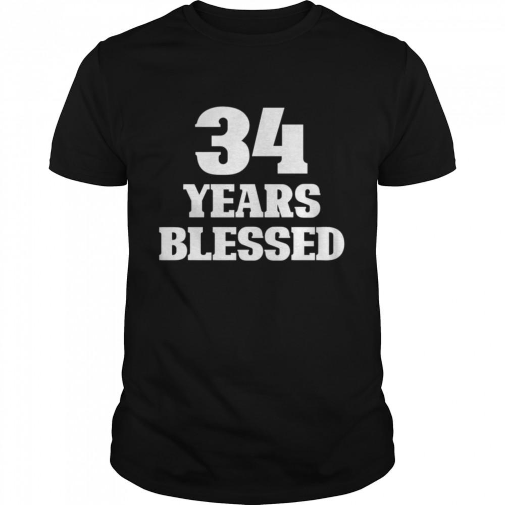 34 Years Blessed 34th Birthday Christian Religious Jesus God shirt Classic Men's T-shirt