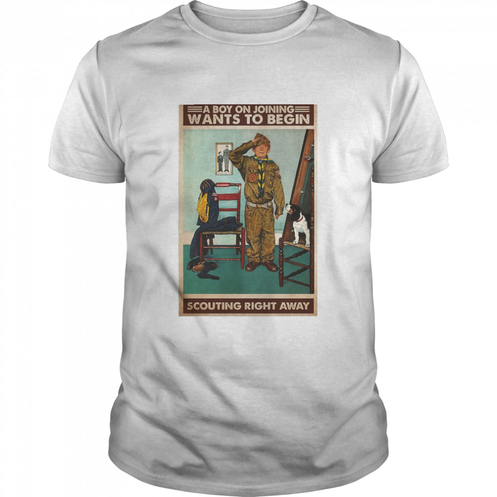 A Boy On Joining Wants To Begin Scouting Right Away T-shirt Classic Men's T-shirt