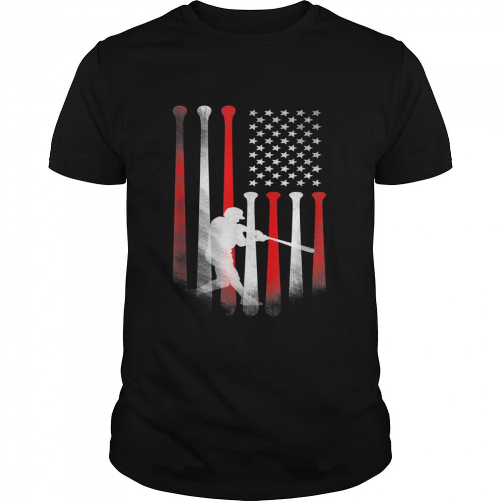 American Flag Baseball Player Flag Dad Mom Kid shirt Classic Men's T-shirt