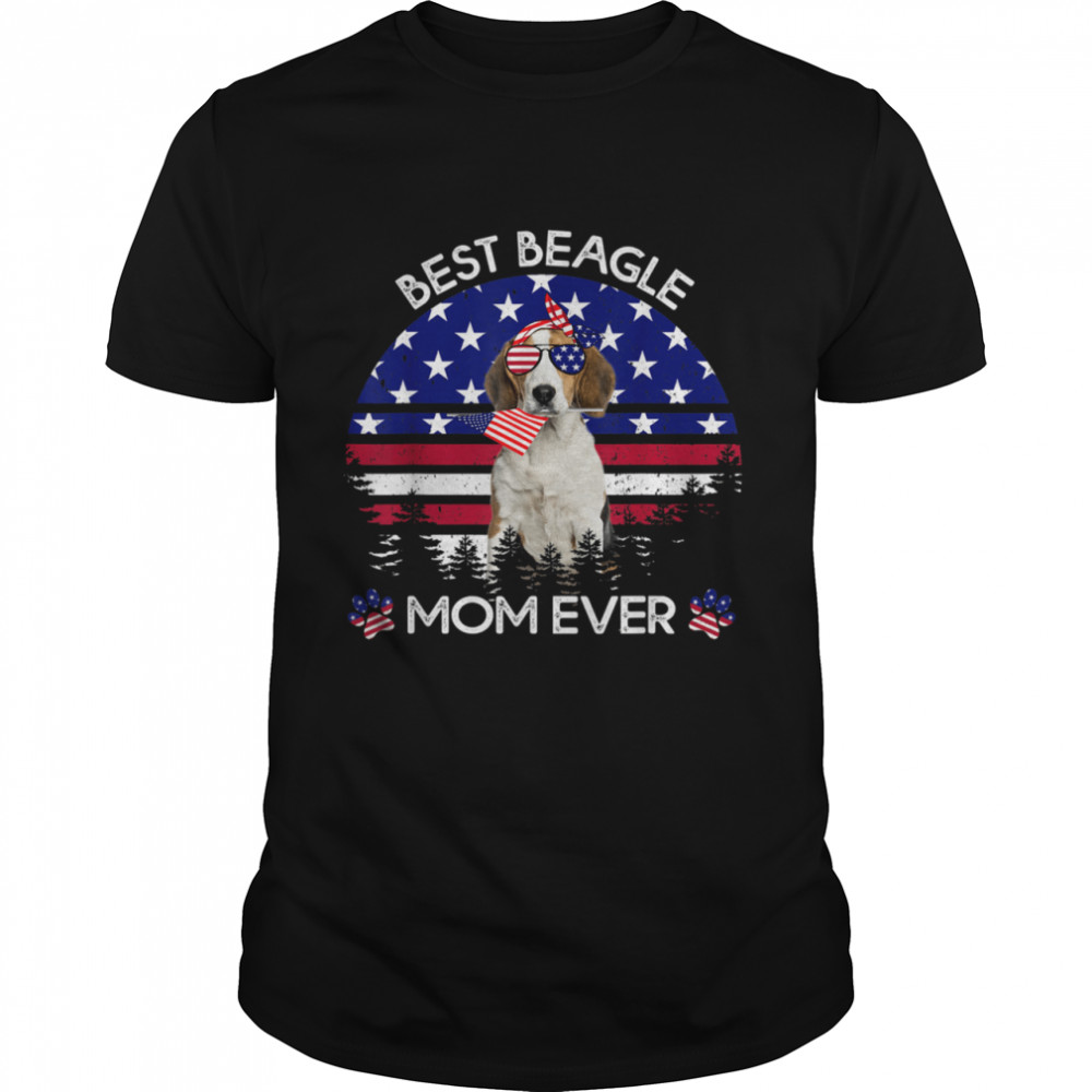 Best Beagle Mom Ever Vintage American Flag 4th Of July shirt Classic Men's T-shirt