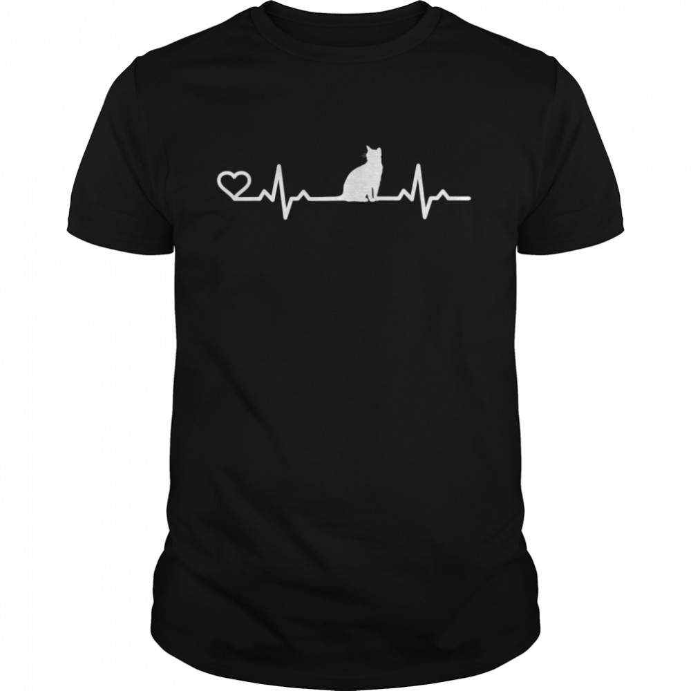 Heartbeat cat cat love animal friend shirt Classic Men's T-shirt