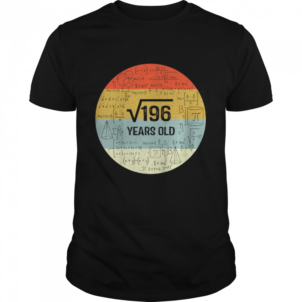 Square Root of 196 Retro 14 Years Old 14th Birthday shirt Classic Men's T-shirt