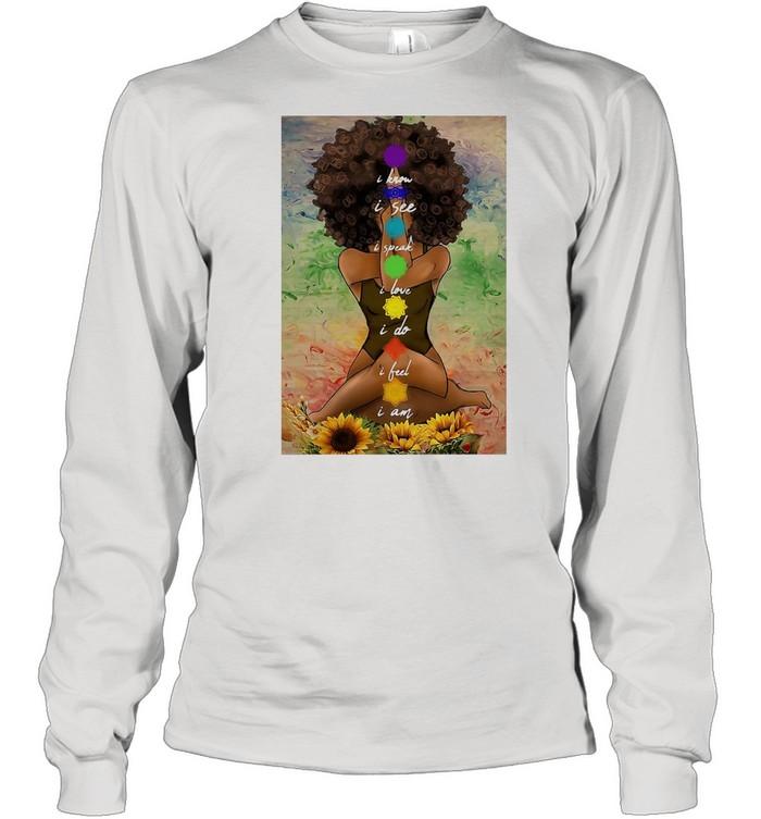 Yoga African American Wall Art  Long Sleeved T-shirt