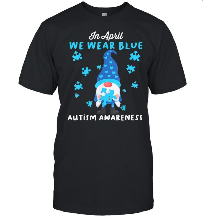 Blue Gnomes In April We Wear Blue Autism Awareness Month  Classic Men's T-shirt