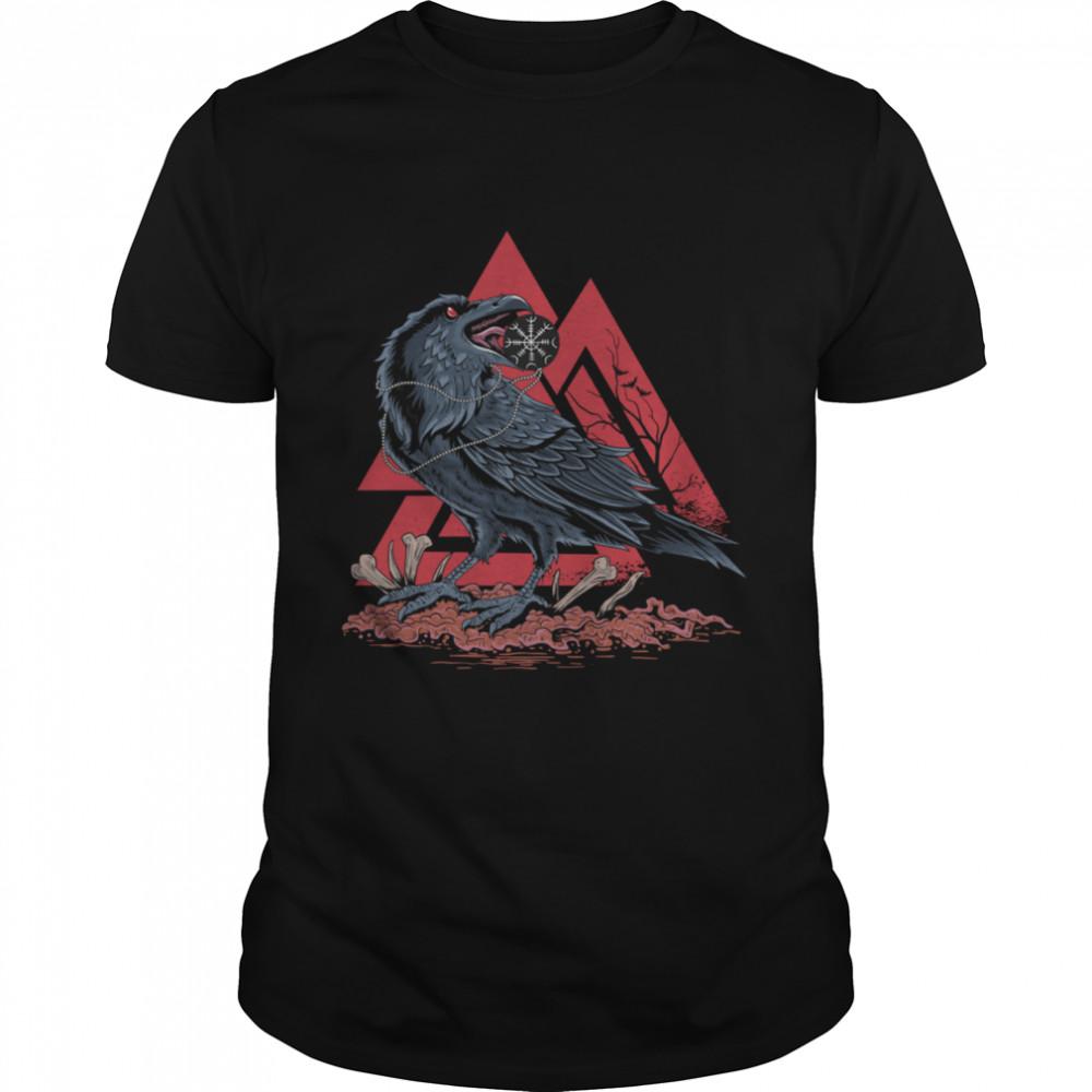 Odin Ravens Huginn & Muninn Viking Black Crow VALKNUT shirt Classic Men's T-shirt