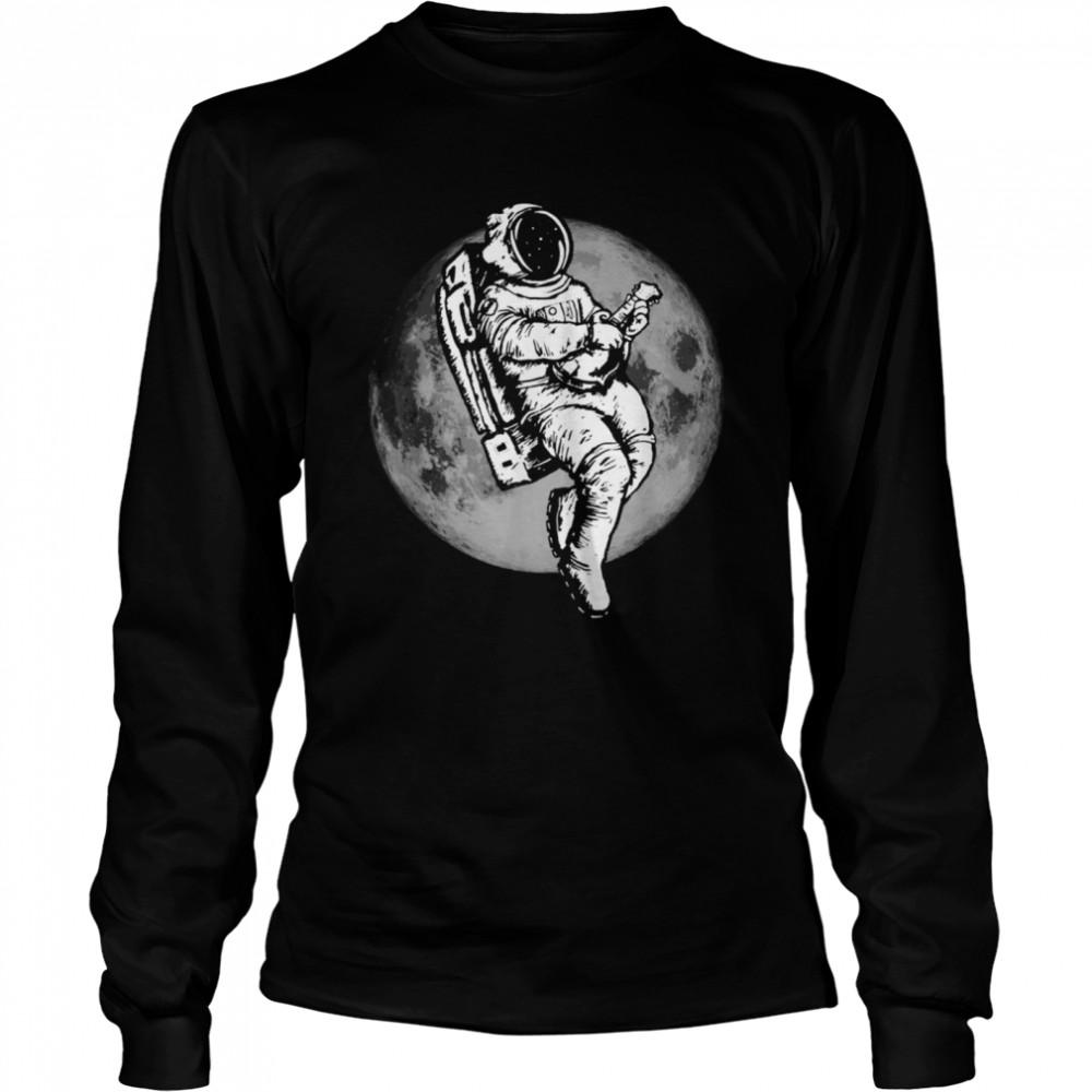 Space Mandolin Retro Astronaut Mandolinist & Moon  Long Sleeved T-shirt