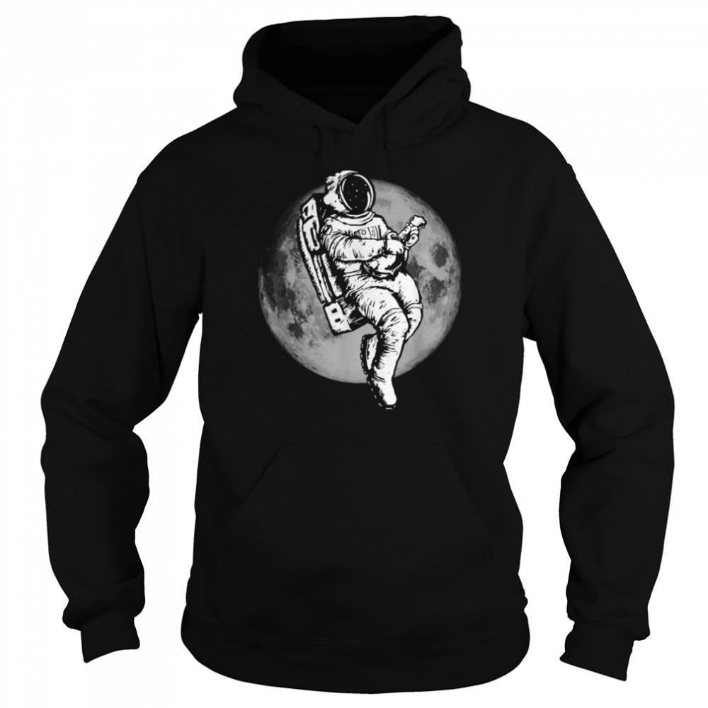 Space Mandolin Retro Astronaut Mandolinist & Moon  Unisex Hoodie