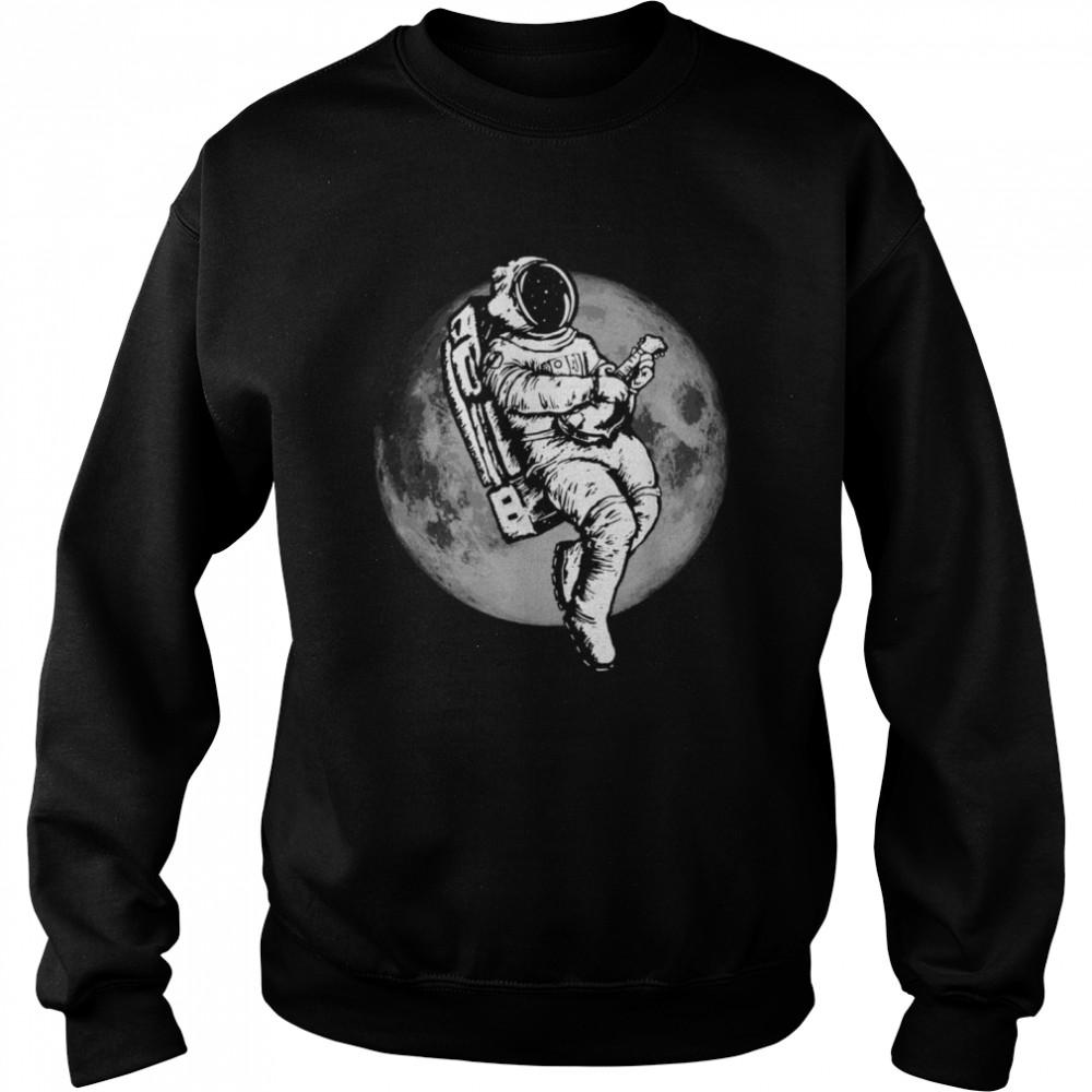 Space Mandolin Retro Astronaut Mandolinist & Moon  Unisex Sweatshirt