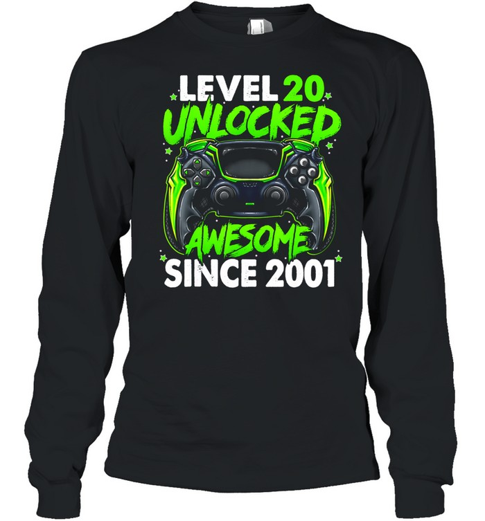Level 20 Unlocked Awesome Since 2001 20th Birthday Gaming shirt Long Sleeved T-shirt