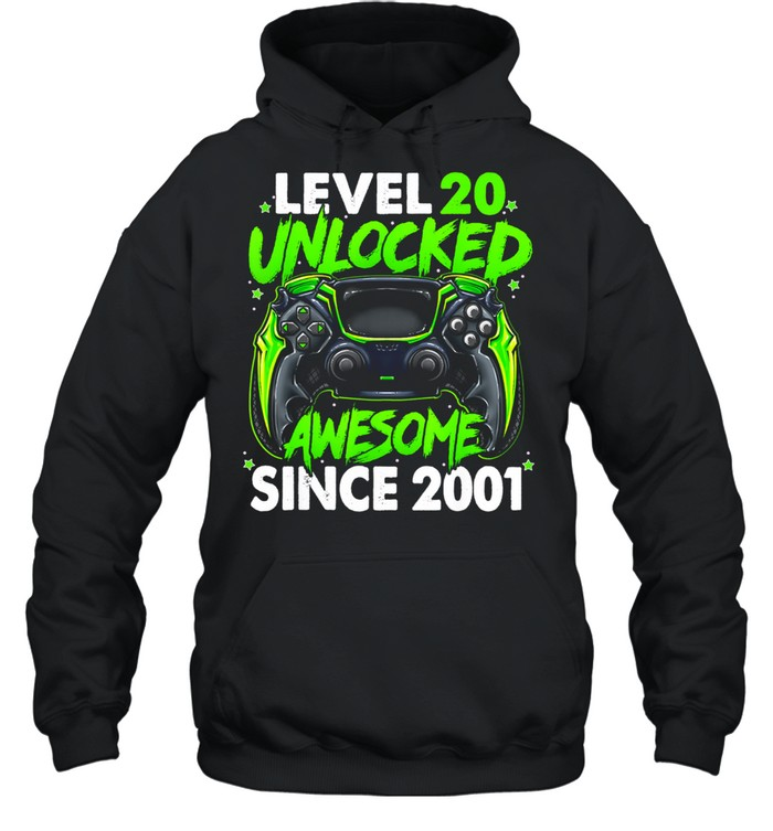 Level 20 Unlocked Awesome Since 2001 20th Birthday Gaming shirt Unisex Hoodie
