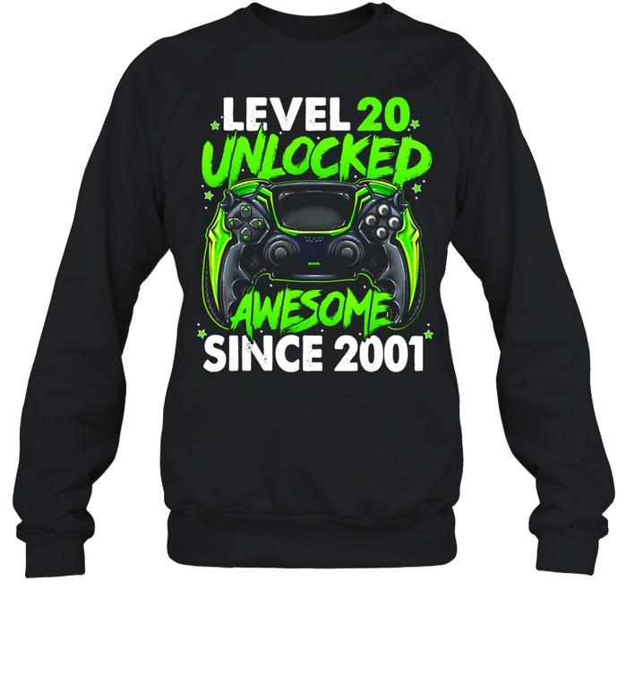Level 20 Unlocked Awesome Since 2001 20th Birthday Gaming shirt Unisex Sweatshirt