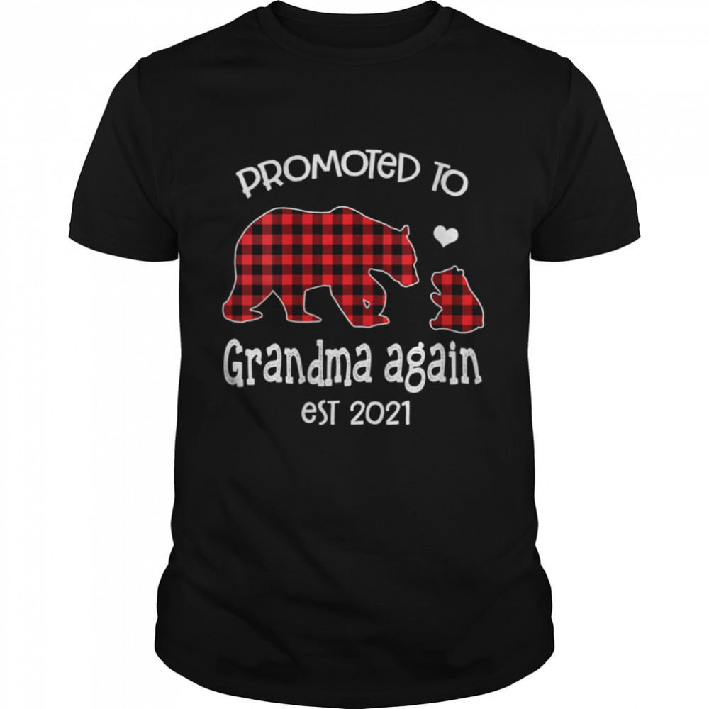 Promoted To Grandma Bear again Red Plaid est 2021 shirt Classic Men's T-shirt