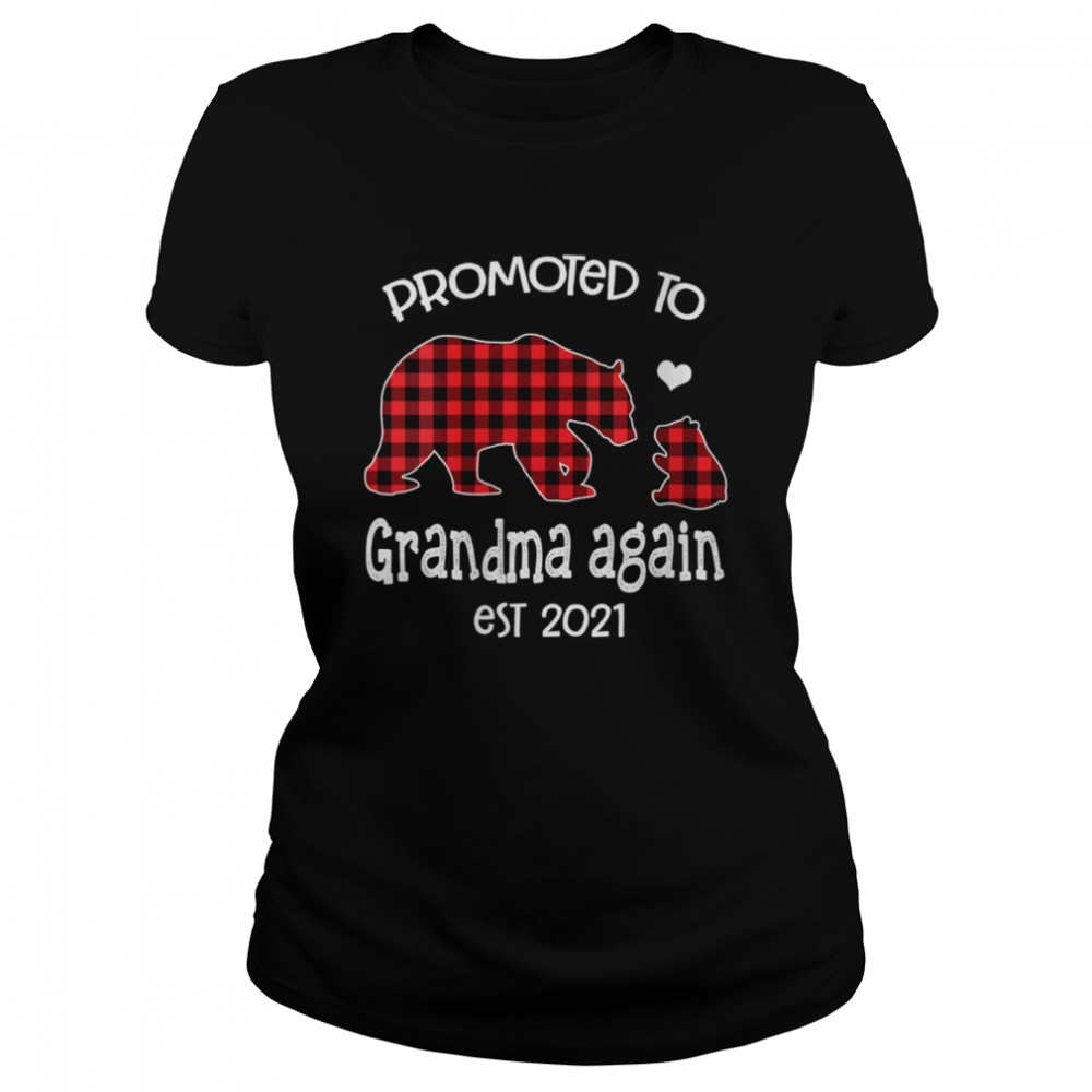 Promoted To Grandma Bear again Red Plaid est 2021 shirt Classic Women's T-shirt