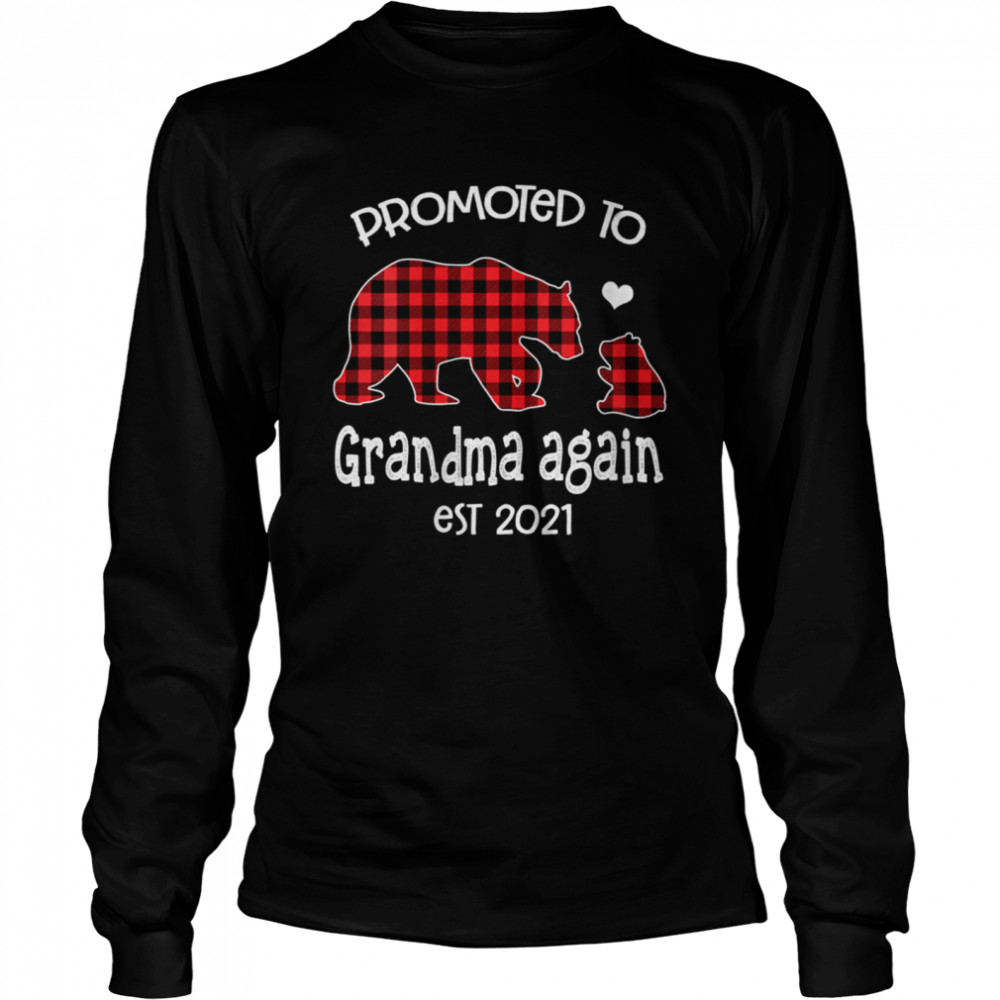 Promoted To Grandma Bear again Red Plaid est 2021 shirt Long Sleeved T-shirt