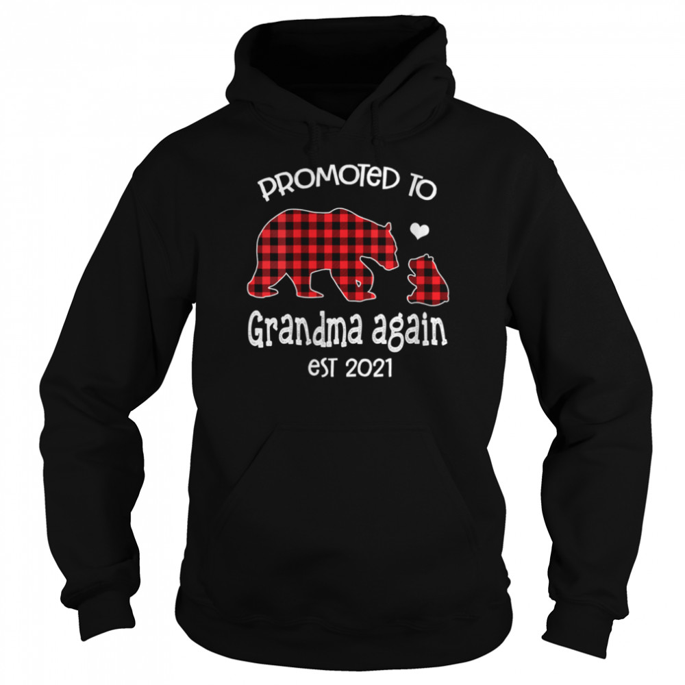 Promoted To Grandma Bear again Red Plaid est 2021 shirt Unisex Hoodie