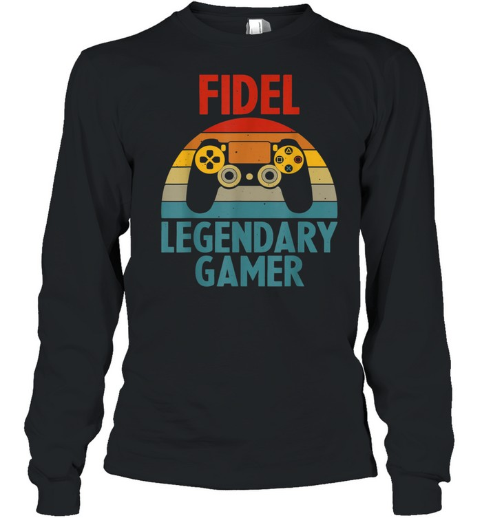 FIDEL Name Personalized Gaming Geek Birthday shirt Long Sleeved T-shirt