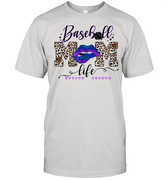 Womens Baseball MOm Life Lips Leopard Buffalo Matching mom shirt Classic Men's T-shirt
