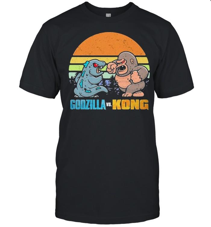 Chibi Godzilla Vs Kong Movie 2021 Vintage Retro shirt Classic Men's T-shirt