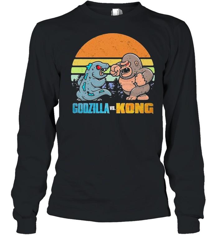 Chibi Godzilla Vs Kong Movie 2021 Vintage Retro shirt Long Sleeved T-shirt